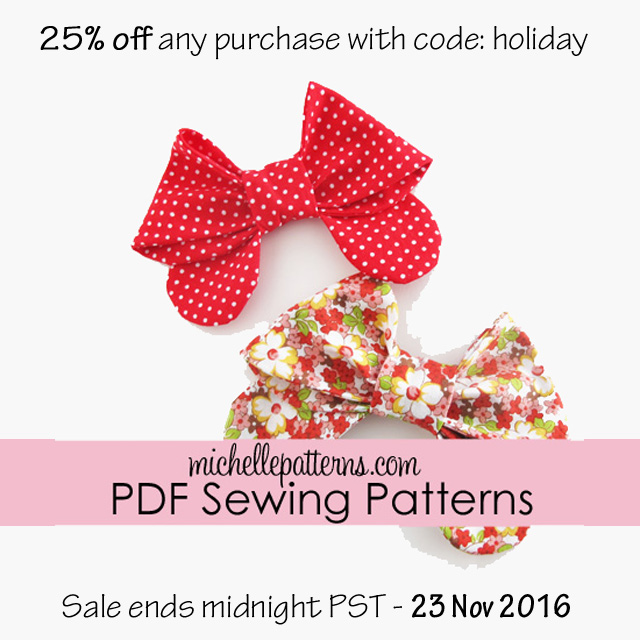 Michelle Patterns 25% off any purchase sale