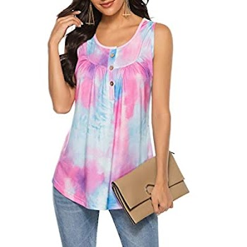 60% OFF  Sleeveless V Neck Tie Dye Casual Swing Shirts Flowy Tank Tops