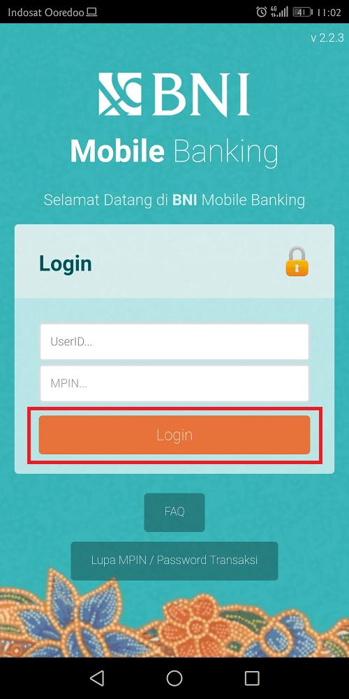 login ke bni mobile banking menggunakan userid dan mpin