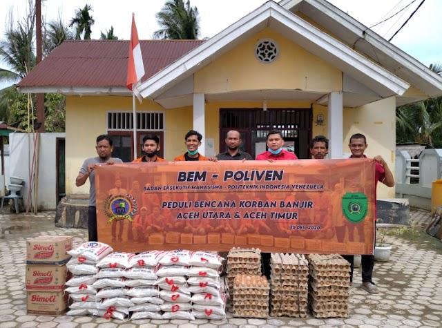 BEM Poliven Salur Bantuan ke Korban Banjir Aceh Utara dan Aceh Timur