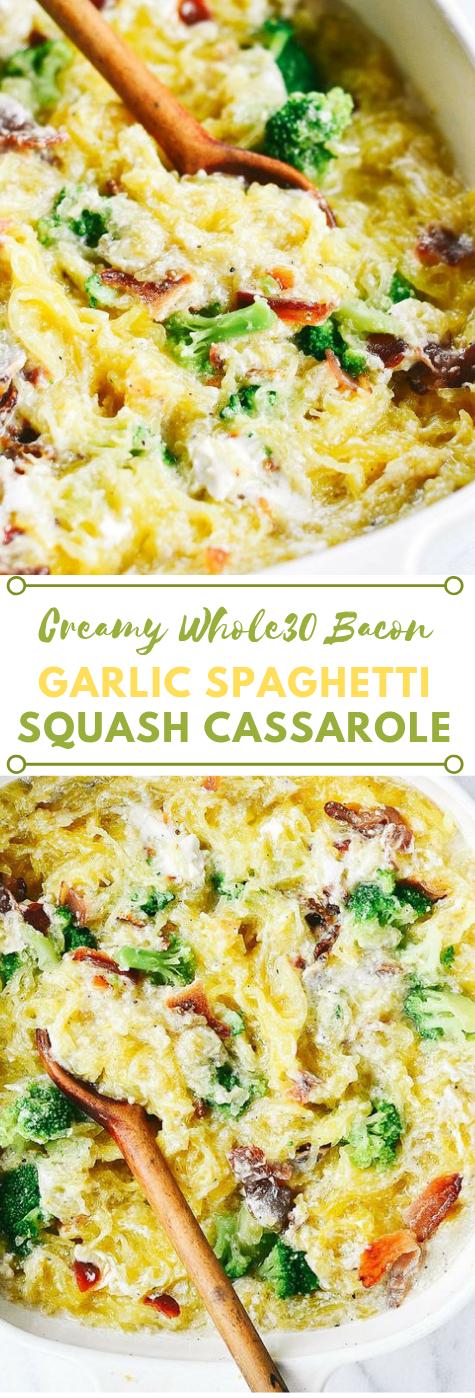 CREAMY WHOLE30 BACON GARLIC SPAGHETTI SQUASH #healthydiet #whole30 #paleo #easy #salad