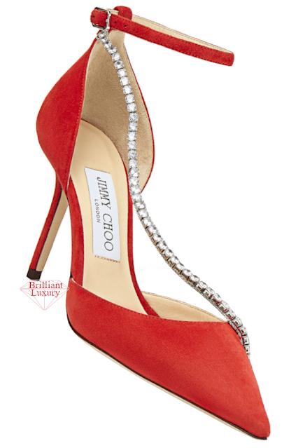 Jimmy Choo Talika Mandarin-Red Suede Sandals with Crystal Chain #brilliantluxury