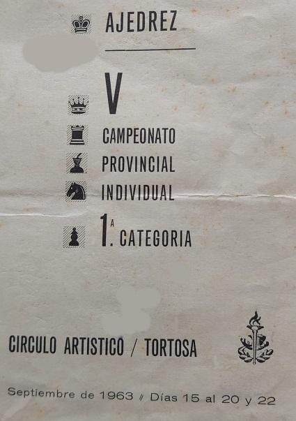 Portada del boletín del V Campeonato Provincial de Tarragona-1963