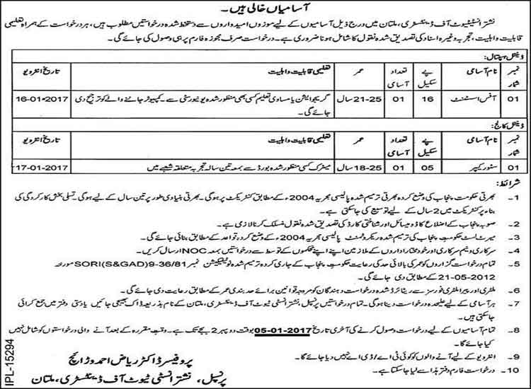 New Jobs in Nishtar Institute of Dentistry Multan