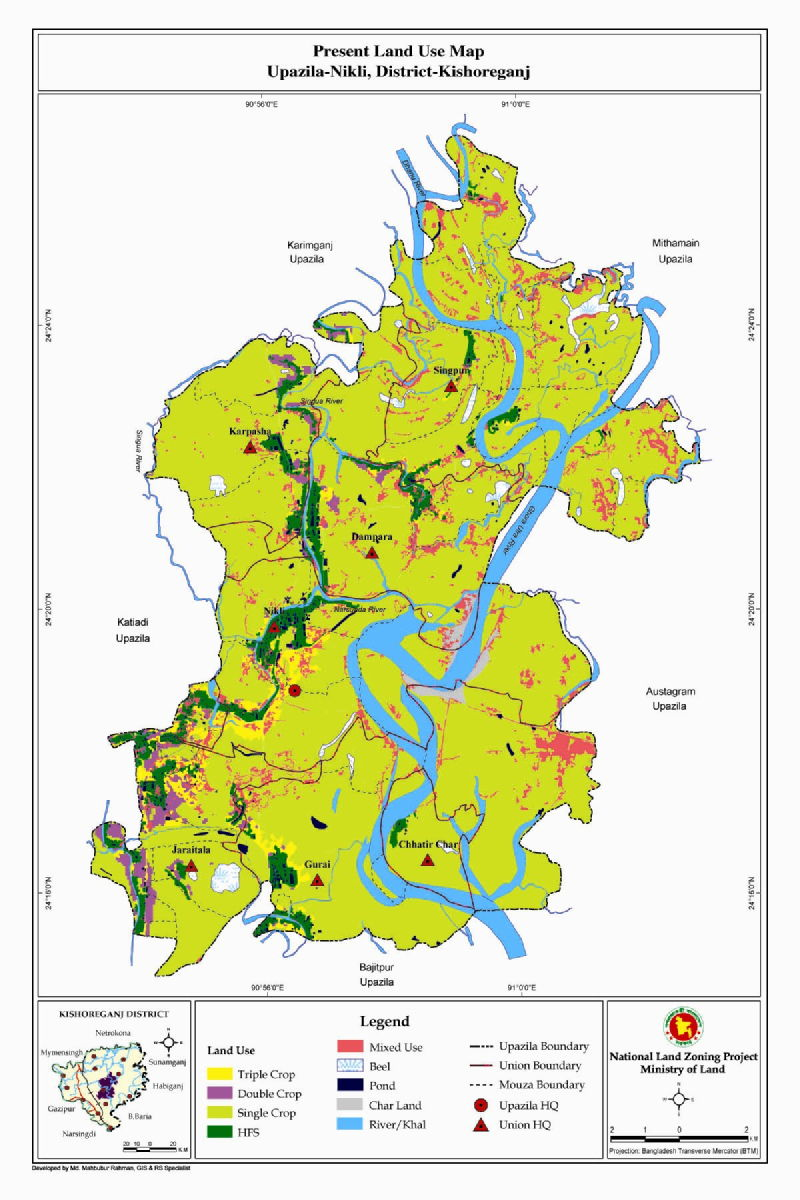 Nikli Upazila Mouza Map Kishoreganj District Bangladesh