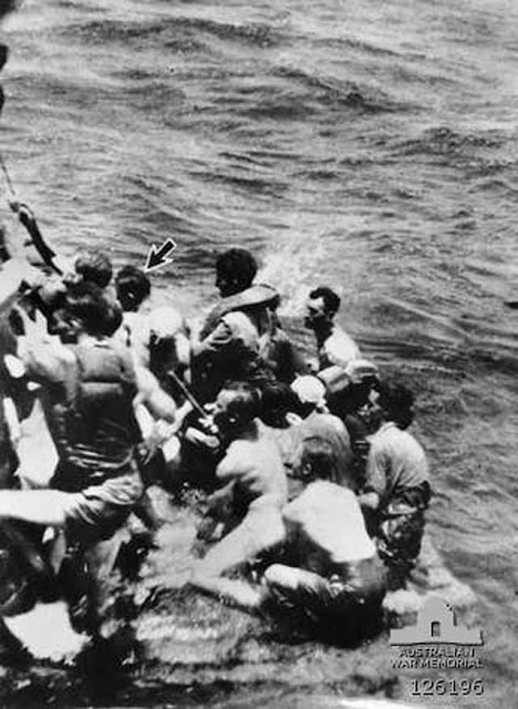 Future Australian PM John Gorton being rescues at sea, 13 February 1942 worldwartwo.filminspector.com