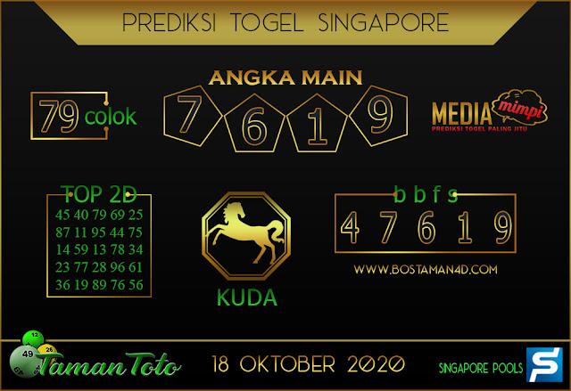 Prediksi Togel SINGAPORE TAMAN TOTO 18 OKTOBER 2020