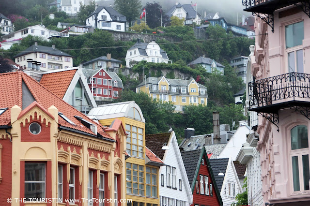 Colourful houses built up a hill in Bergen in Norway.