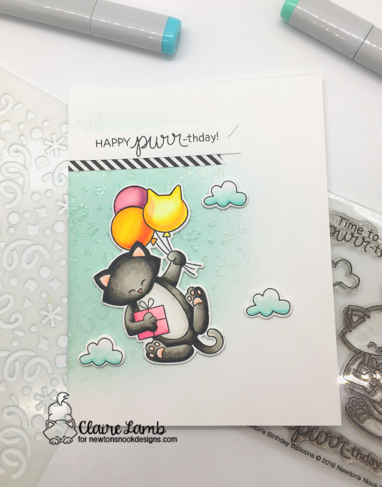 Happy Purr-thday by Claire by Newton's Birthday Balloons and Confetti by Newton's Nook Designs; #newtonsnook, #catcard, #birthdaycard, #inkypaws, #cardmaking