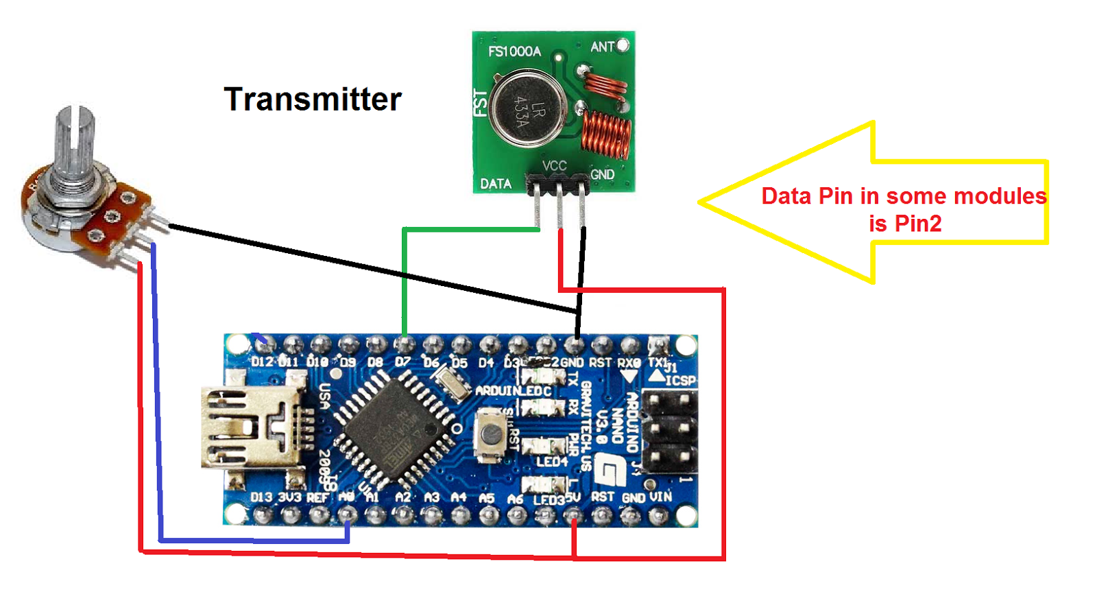 Wireless voltmeter using Arduino and RF 433MHz receiver and
