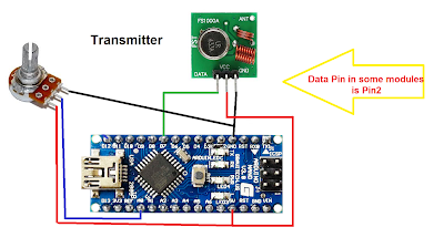 Wireless voltmeter using Arduino and RF 433MHz receiver and transmitter