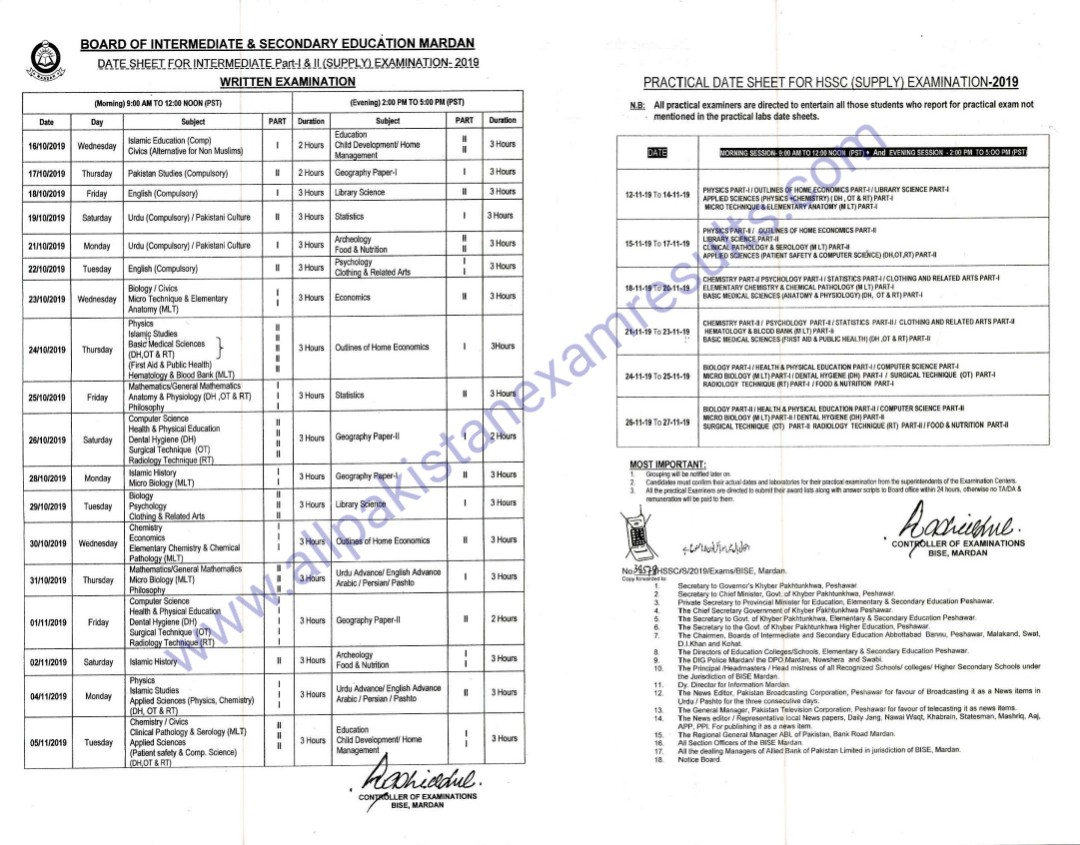 Date Sheet inter Supplementary 2019 Mardan Board