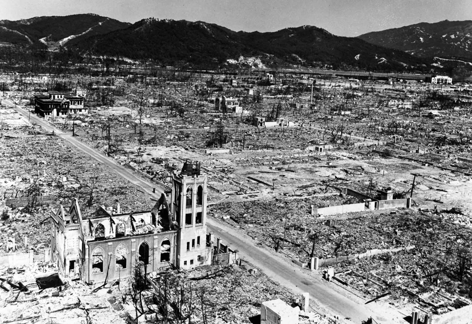 The shattered Nagarekawa Methodist Church stands amid the ruins of Hiroshima.