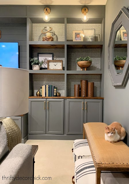 dark gray westchester bookcases with wood