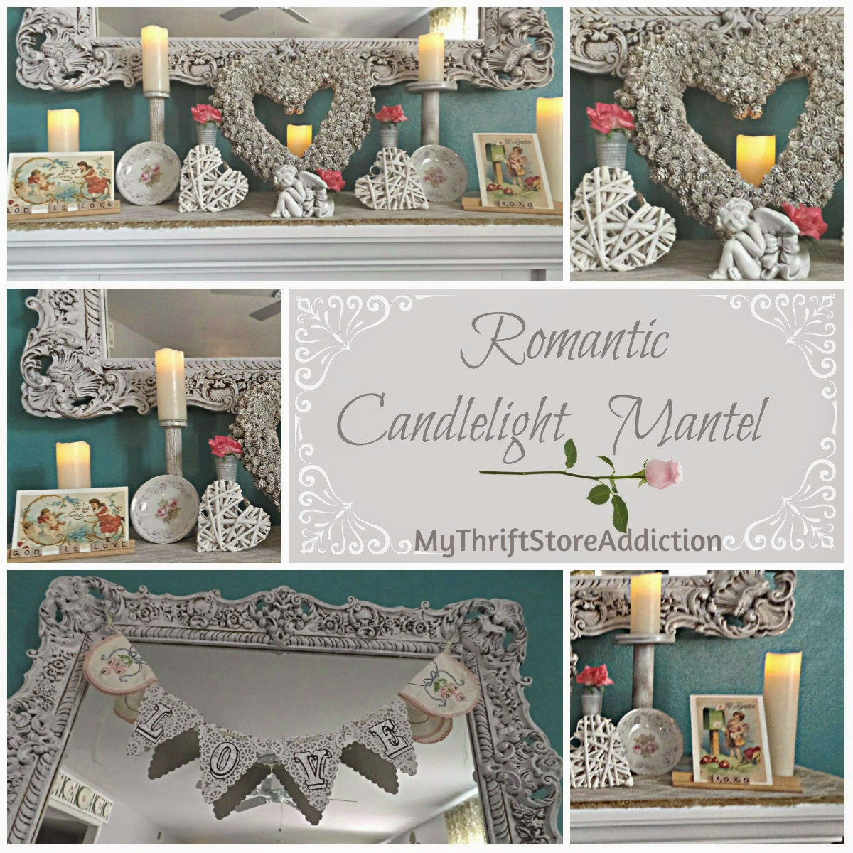 Romantic candlelight mantel