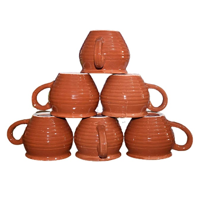 Kullad Handcrafted Ceramic Tea/Coffee/Tea Cups/Tea Cup Set with Handle Kitchen and Dining Tableware Ideal Best Gift to Friends, Anniversary (Set of 6) Kullad 100ML