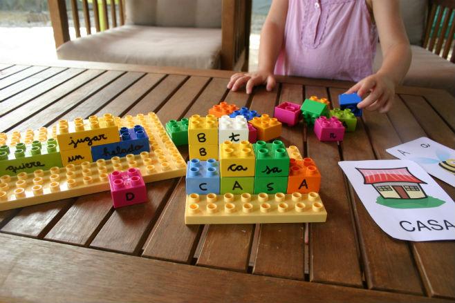 Actividad infantil lectoescritura con lego , aprender leer escribir