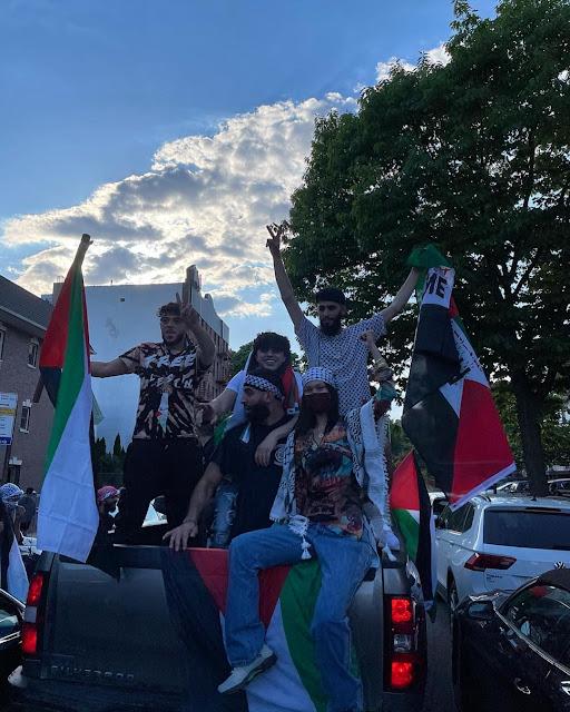 بيلا حديد تشارك في مظاهرات لدعم فلسطين في شوارع أمريكا للتنديد باعتداءات إسرائيل.. (فيديو وصور)