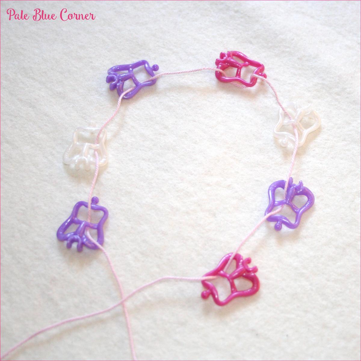 Pale Blue Corner Crochet Bracelet With Butterflies