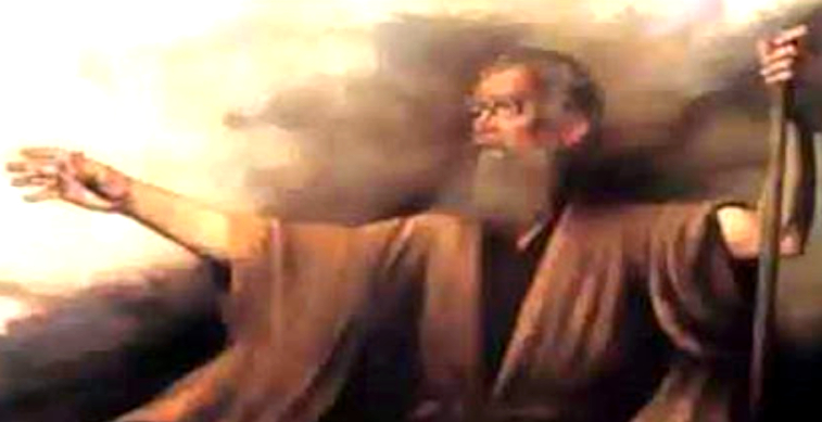 A imagem contém uma representação de Levi com barbas longas e braços abertos olhando para os céus.