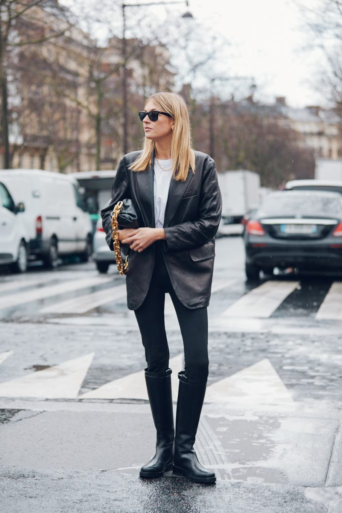 How To Style A Black Leather Blazer Outfit Idea — Camille Charriere Street Style