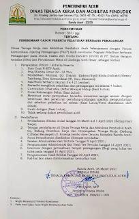 Lowongan Kerja Dinas Tenaga Kerja dan Mobilitas Penduduk Aceh