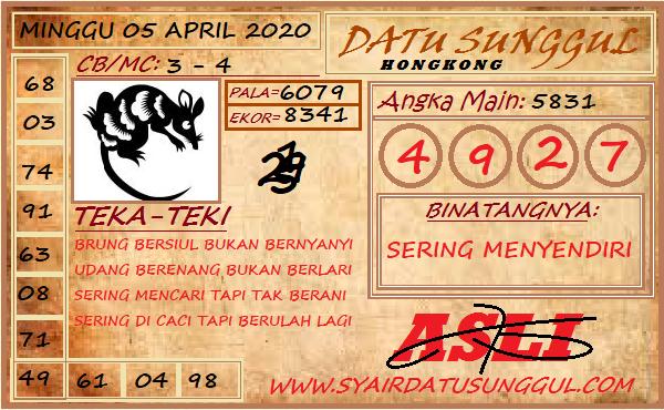 Prediksi HK Malam Ini Minggu 05 April 2020 - Datu Sunggul HK