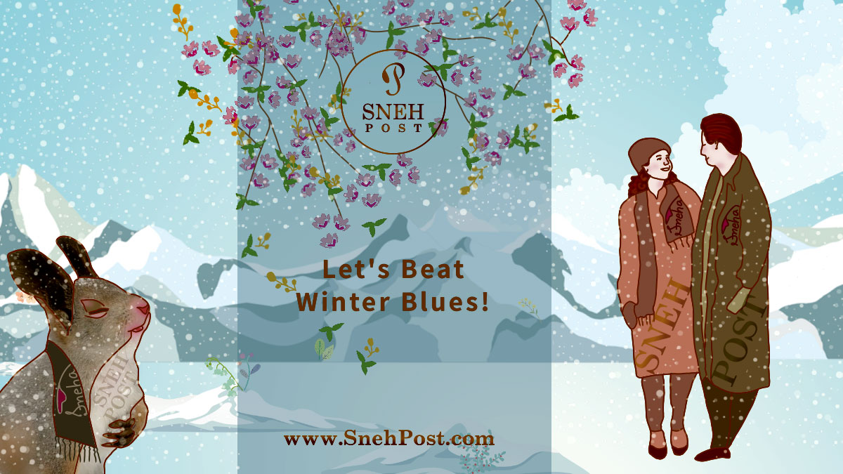 Beat winter blues with ways to join hands with wintry weather: Happy couple walking on the street, enjoying snowfall and seasonal beautiful winter flowers. A rabbit in muffler enjoying winter season closing the eyes towards the sky in cartoon illustration