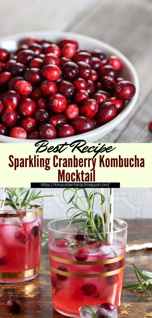 Sparkling Cranberry Kombucha Mocktail #healthydrink #easyrecipe #cocktail #smoothie