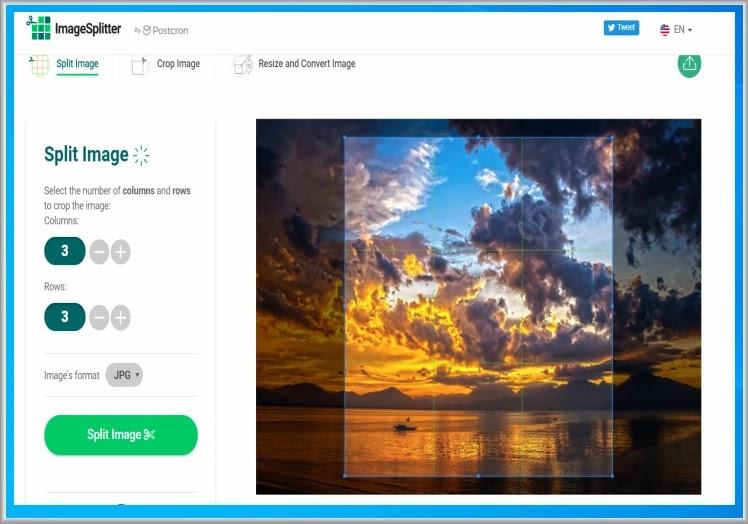 ImageSplitter : Μετατρέψτε περικόψτε και αλλάξτε τις διαστάσεις στις φωτογραφίες σας online