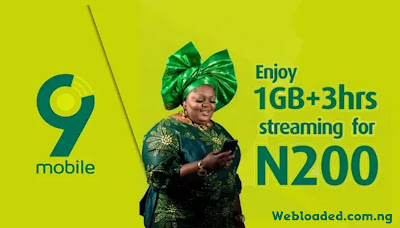 How to Subscribe to 9Mobile 1GB + 3 Hours Free Streaming for N200