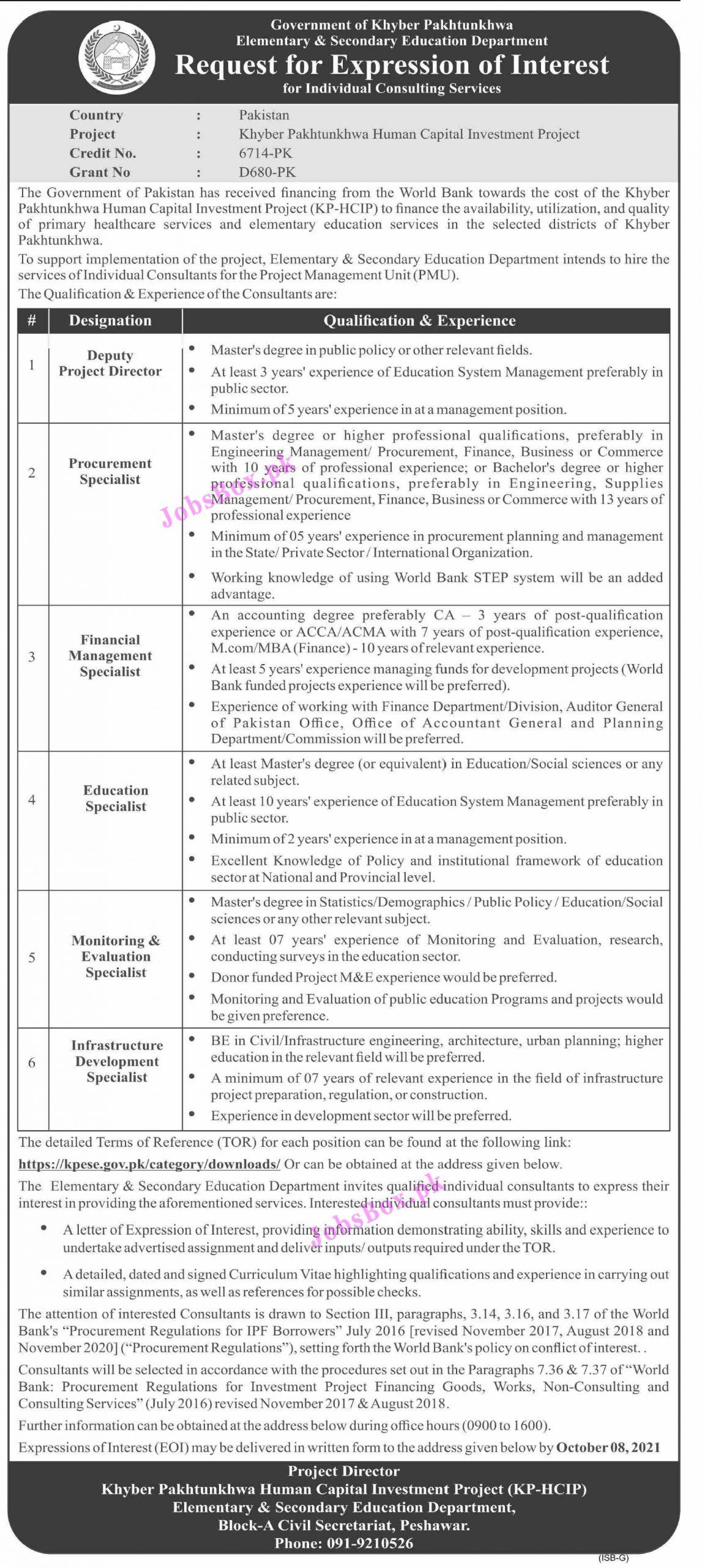 Elementary & Secondary Education Department KPK Jobs 2021