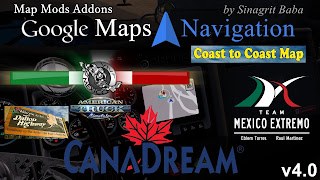 ats google maps navigation normal & night version map mods addons v4.0