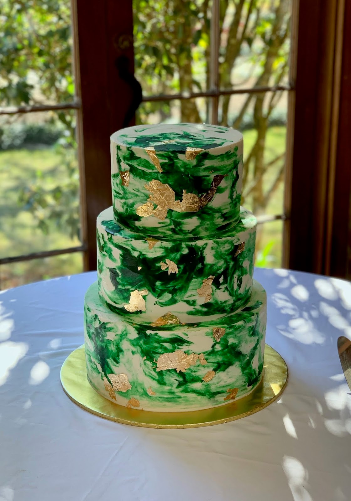 Cakes By Mindy Emerald Green And Gold Watercolor Wedding Cake 8