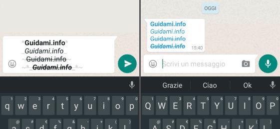 WhatsApp scrivere in grassetto, corsivo, sbarrato