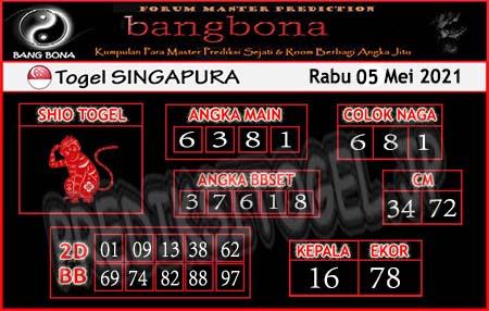 Prediksi Bangbona SGP Rabu 05 Mei 2021