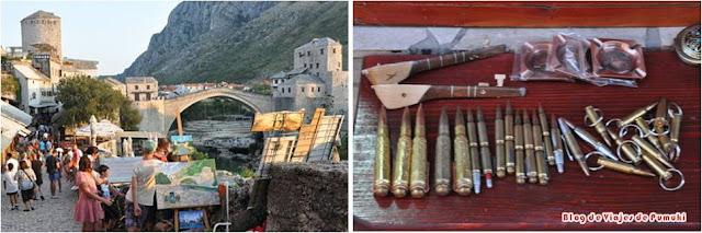 Puente y marcas de guerra en Mostar en Bosnia y Herzegovina. Viaje desde Dubrovnik, Croacia