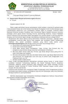 Surat Edaran Dukungan Mengisi Content E-Learning Madrasah