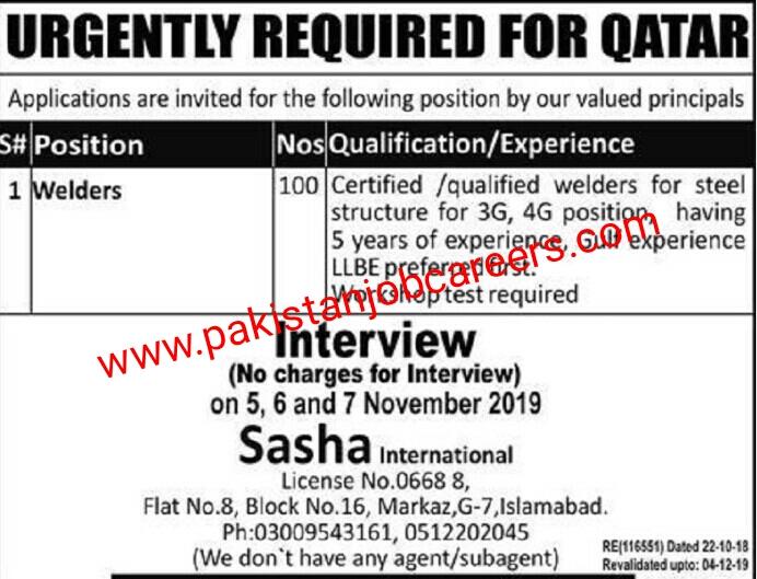 Latest Sasha International Jobs 2019 for 100+ Welders for Qatar Projects