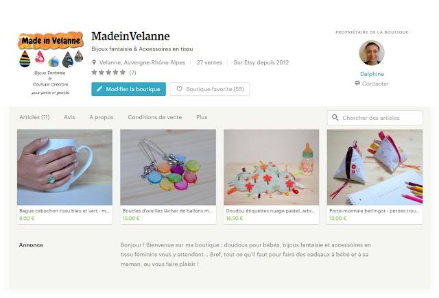 boutique en ligne bijoux et doudous made in velanne sur etsy
