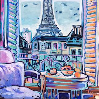 Balcón hacia la Tour Eiffel por Isabelle de Kergal.