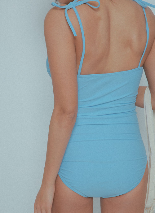 Self-Tie Strap Single Tone Swimsuit