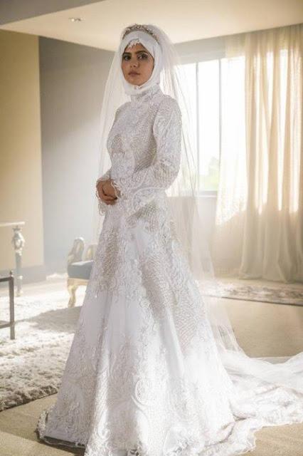 Laila vestida de noiva em Orfãs da Terra