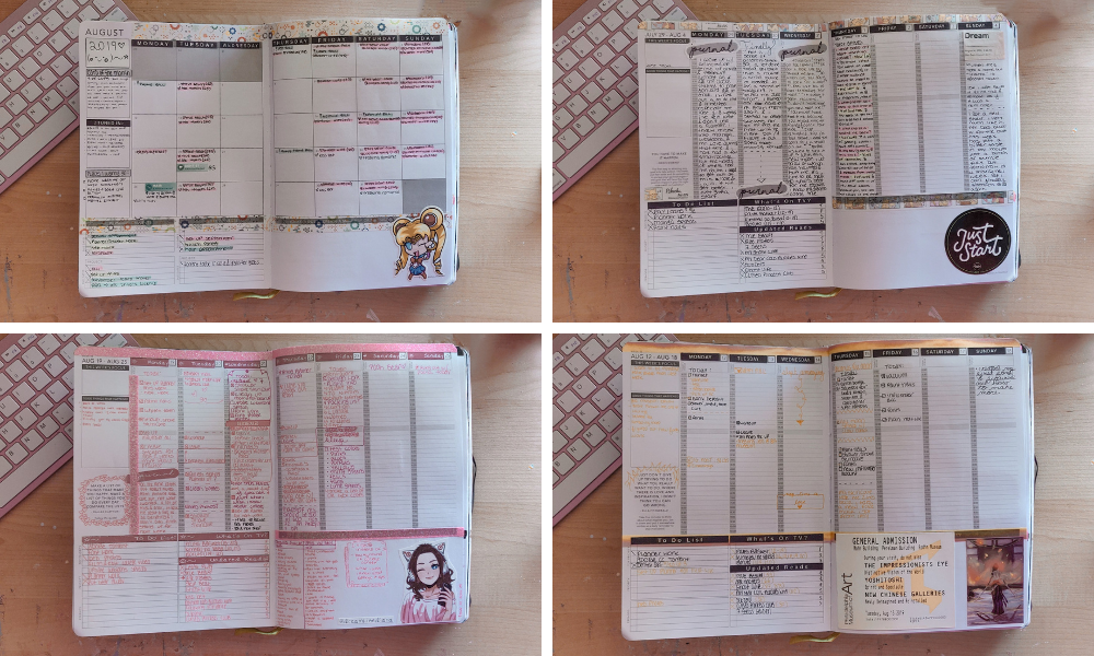images of my first few planner sticker batches coming out wrong, didn't look well, weren't the right size, etc.