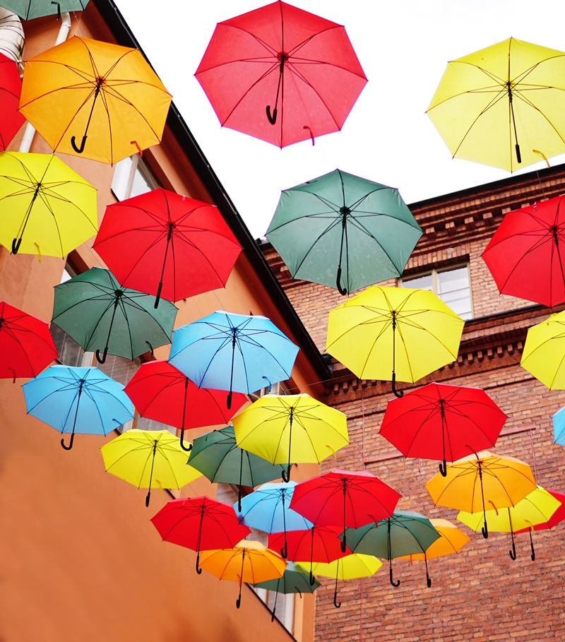 sateenvarjot, sade, kesäsää