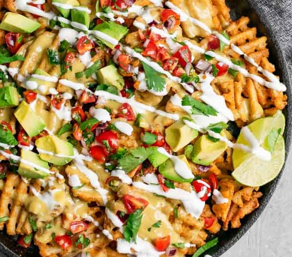 WAFFLE FRY NACHOS WITH VEGAN QUESO #vegetarian #lunch