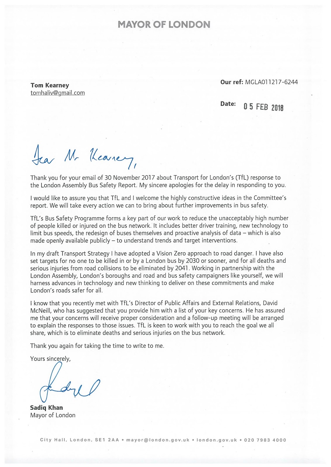 Londonbuswatch an exchange of letters with the mayor of london and board meeting discusses surface transport safety performance tipping point or tip of the iceberg i received this letter from the mayor of london expocarfo Image collections