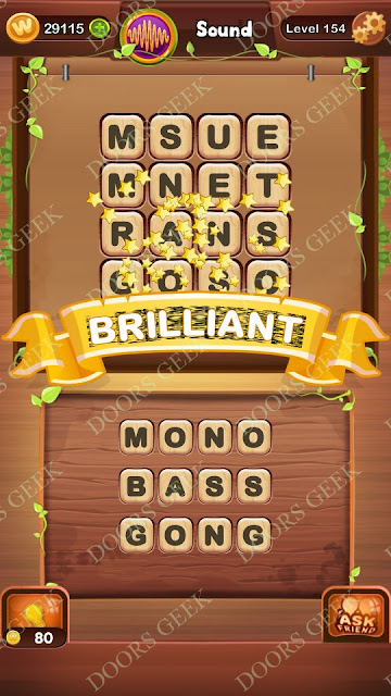 Word Bright Level 154 Answers, Cheats, Solutions, Walkthrough for android, iphone, ipad and ipod