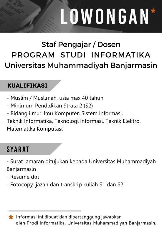 Lowongan Universitas Muhammadiyah Banjarmasin sebagai