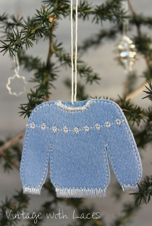 Old T-Shirt upcycled into Christmas sweater ornament by Vintage with Laces